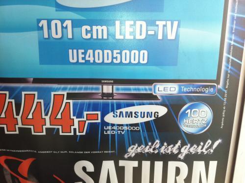 Samsung UE40D5000 für 444€ bei Saturn Berlin