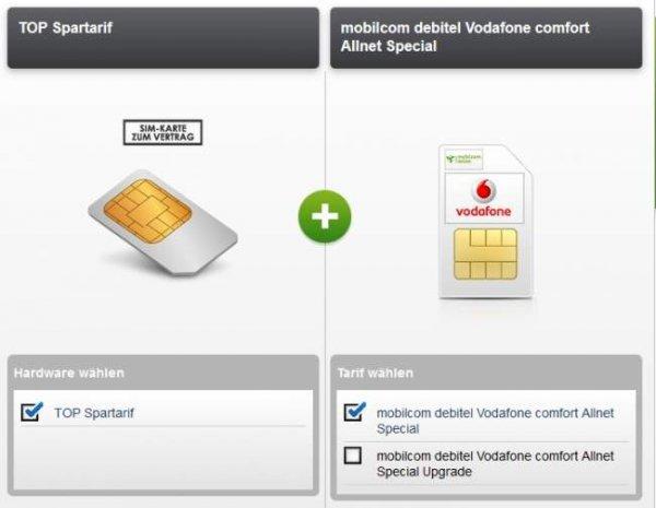 mobilcom debitel Vodafone comfort Allnet Special für effektiv 6,99€ / 13,99€ - Allnet-Flat, 500MB / 1500MB (21,6Mbit/s) im Vodafone Netz