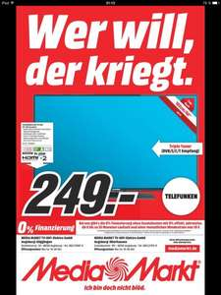 [Media Markt Augsburg] LOKAL TELEFUNKEN 40 Zoll Smart-TV