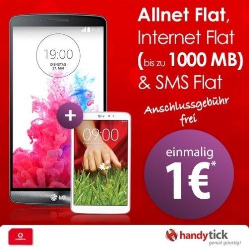 Handytick-Vodafone Smart L  mit LG G3 + LG G Pad inkl 1GB LTE--Junge leute/500MB Normal 29,99€ mtl. AG Frei