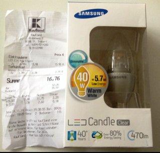[Kaufland] Samsung dimmbare LEDs z.B. E14 5,7W 470 Lm 6,99€