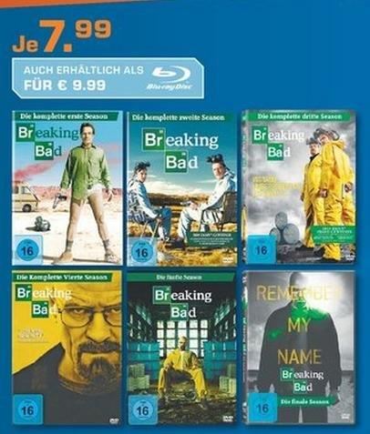 Lokal Saturn Heidelberg Breaking Bad Staffel 1-6 für je 7,99[DVD] oder je 9,99 [Blu-Ray]