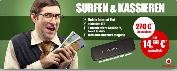 3GB Vodafone LTE Surflat (50MBit/s) für 3,74€ im Monat (+60-Freiminuten wählbar)