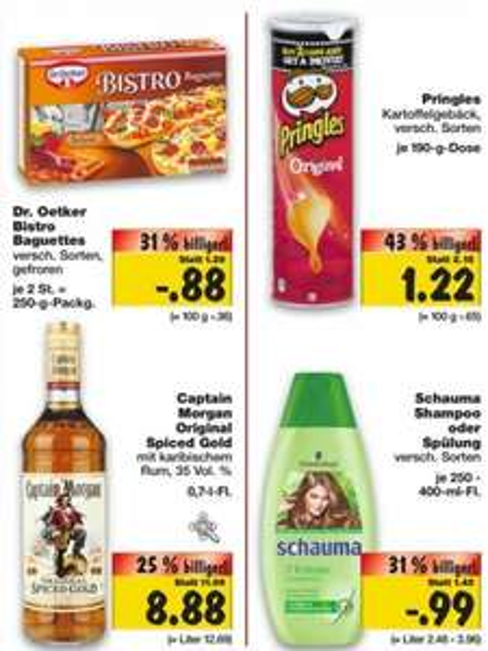 [Kaufland BW+Bayern KW47] Captain Morgan 0,7l 8,88€, Pringles 1,22€, Bistro Baguettes 0,88€