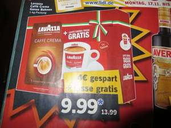 (Lidl) Lavazza Caffe Crema + Gratis Caffe Crema Tasse 9,99 €