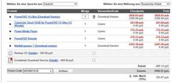 Cyberlink PowerDVD 14Ultra Vollversion, für 31,05 Euro im Cyberlink Online Shop