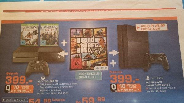 [Lokal] Saturn Kleve - NRW - Xbox One mit AC IV Black Flag, AC Unity und GTA V für 399€