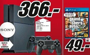 GTA V (PS4/One) 49€, PS4 schwarz oder weiß mit 2x DS4 366€ @Mediamarkt Offenburg