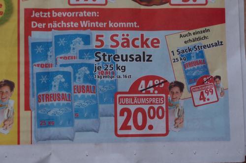 Streusalz 25kg ab 4,00 Euro + Gartencenter Augsburg + Nur NRW