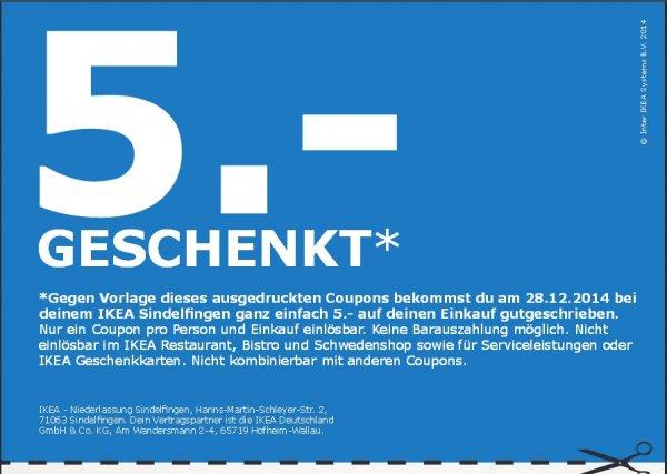[ IKEA Sindelfingen ] 5.- GESCHENKT ohne MBW Nur am 28.12.14 / IKEA Sindelfingen