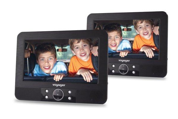 Voyager Tragbarer DVD-Player 7 Zoll LCD-Display mit 2 Bildschirmen inkl. Auto-Holmhalterung und Zubehör schwarz für 81,52 € @Amazon.co.uk