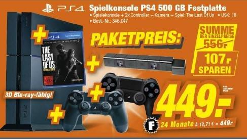 [LOKAL] PS4 500GB + The Last Of Us remastered + 2. Controller + Kamera für 449€ @TeVi Nürnberg bis 19.11