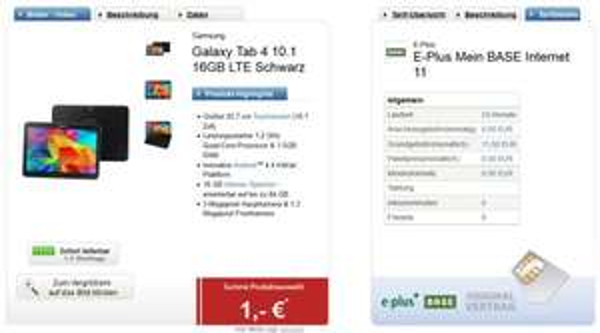 Samsung Galaxy Tab 4 (10.1) 16GB - LTE (mit Vertrag) bei logitel/E-Plus