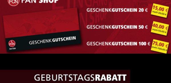 (Lokal Nürnberg) Gutscheine 1.FC Nürnberg Fan-Shop 100€ für 75€