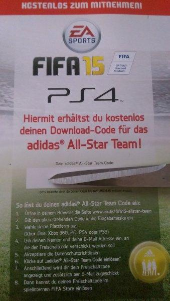 Lokal: Stuttgart - MediaMarkt Stuttgart Schwabengalerie Fifa15-PS3-4/Xbox One-360/PC - Adidas All-Star Team Download Code gratis