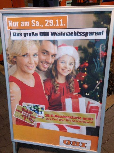 Obi 50€ Geschenkkarte für 40€ am 29.11 (viele teilnehmende Märkte!)