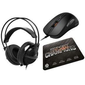 SteelSeries eSport Champions Gaming Gear Collection (SteelSeries Rival Optical Maus, SteelSeries Siberia v2, SteelSeries QcK+)