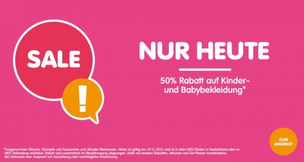 NKD 50 % nur Heute Kinder- und Babybekleidung