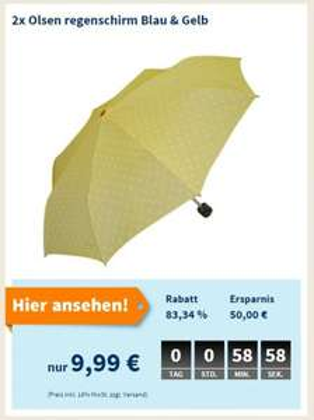 "Olsen™ - 2x Regenschirm ""Alu Light Summertime"" (Gelb&Blau) für €9,99 [@Null.de]"