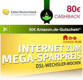 Kabel Deutschland - DSL-Wechsler-Wochen (Internet&Telefon100 für 19,90€ PLUS 80€Cashback & 50€ Amazon)