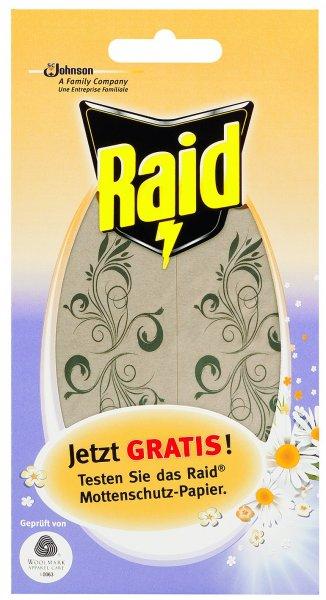 Österreich - Raid Mottenschutz Papier Gratisprobe