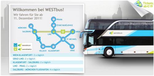 Ab 19€ mit dem Bus quer durch Österreich und zum Flughafen München @Westbus.at
