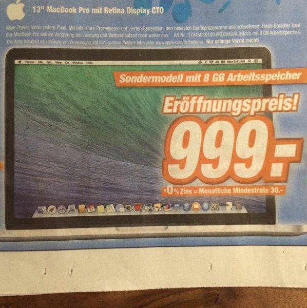 """13"""" MacBook Pro Retina 8GB 128 SSD - lokal Friedrichsdorf & Friedberg bei Expert Klein ab 20.11.2014 für 999 €"""