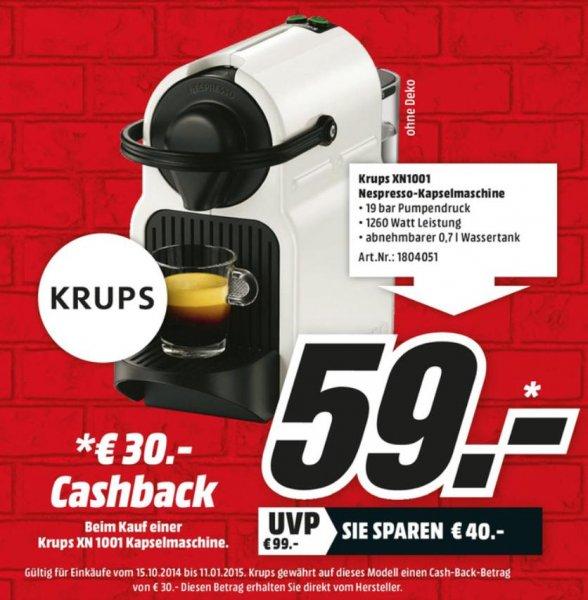 [Lokal Rostock] Krups XN 1001 Nespresso Maschine für effektiv nur 29€ durch 30€ echtes Cash-Back! @MediaMarkt