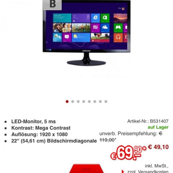 Samsung S22D300H 54,61 cm (22 Zoll) LED-Monitor (VGA, HDMI, 5ms Reaktionszeit) schwarz-glänzend für 75,89€ @redcoon.de