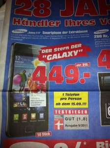 Offline Samsung Galaxy S II für 449€ Regional im Radiomarkt Gelsenkirchen