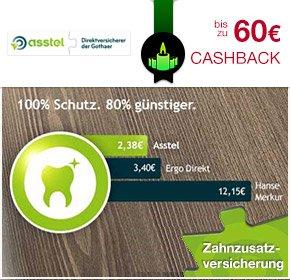 [Qipu] Zahnzusatzversicherung – bist zu 60€ Cashback bei Asstel