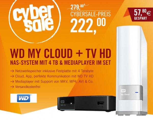 CyberSale:NAS 4TB WD My Cloud USB3.0/GLAN + WD TV HD Media Player für 222- €
