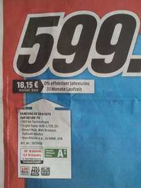 [Lokal] Mediamarkt Stuttgart: Samsung TV UE 58 H 5273: 599 Euro