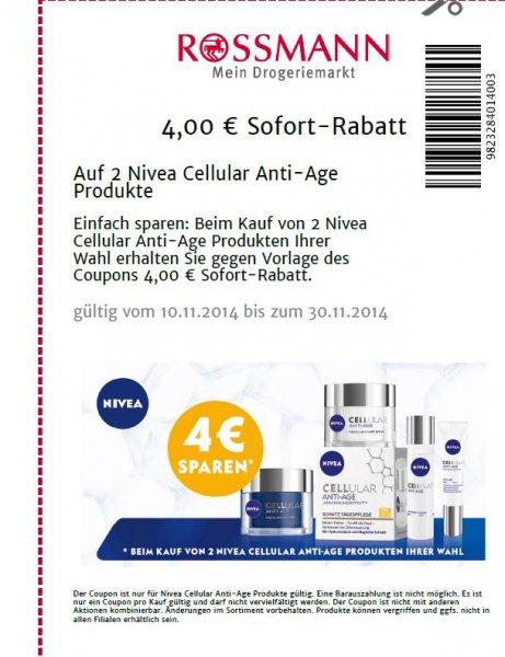 4 € Sofort-Rabatt auf 2 Nivea Cellular Anti-Age Produkte bei Rossmann