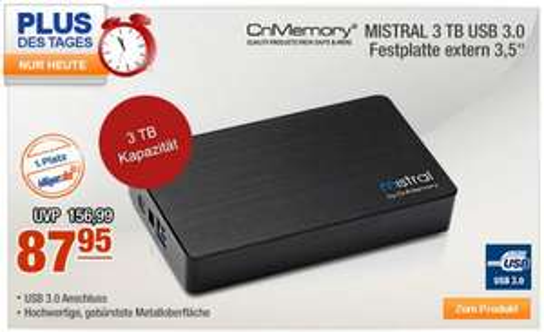 Plus.de: CnMemory Festplatte extern 3,5 USB 3.0 MISTRAL 3TB