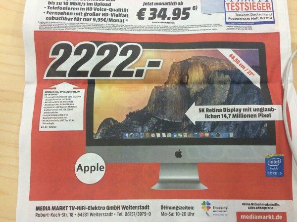 """[LOKAL MM Weiterstadt] Apple iMac 27"""" mit Retina 5K Display (MF886D/A) für 2222€"""