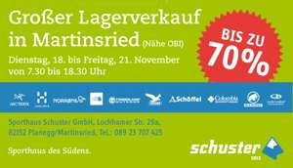 (Lokal München/Martinsried) Lagerverkauf Sport Schuster