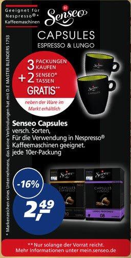 (Real) 3x Senseo Kapseln (Nespresso) + 2 Becher 4,98 durch Cashback