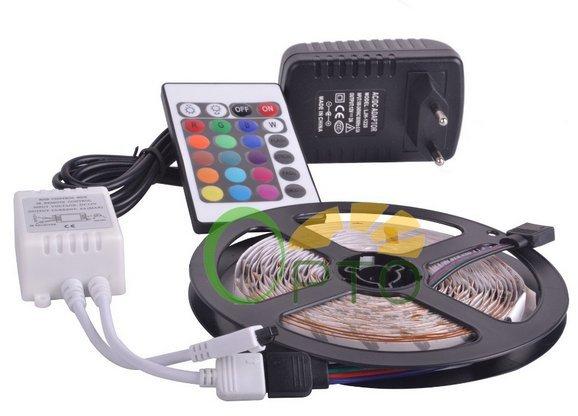 [Aliexpress] 5m LED-Strip RGB SMD 3528 + EU-Netzteil + 24-Tasten-Fernbedienung