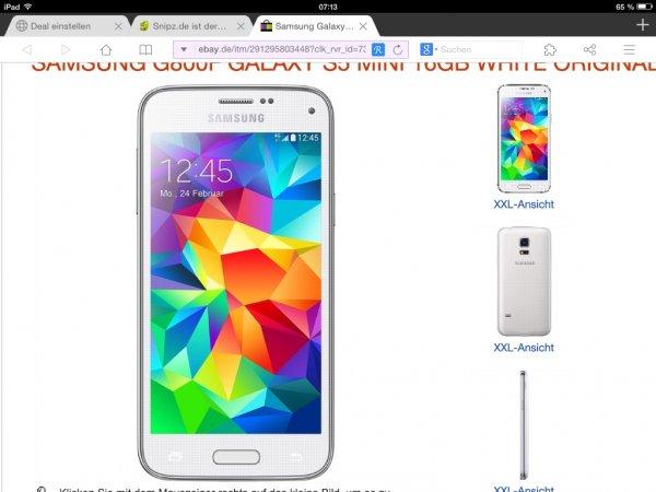 Ebay WOW Samsung Galaxy S5 Mini für 279€