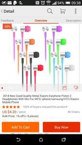 2014 New Good Quality Metal Xiaomi Earphone Piston 2  Headphones With Mic For MP3/ iphone/samsung/HTC/Xiaomi Mobile Phone