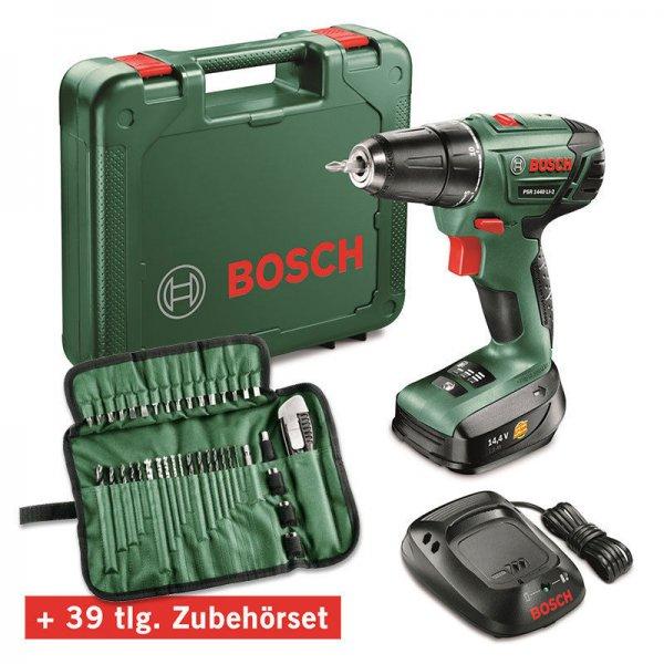 Bosch PSR 1440 LI-2 Akku-Bohrschrauber + Koffer + 39tl. Zubehörset für 111€