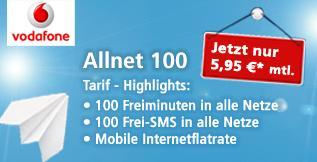 Telco Vodafone Tarif mit 100 Minuten + 100 SMS + Internet Flat für 5,95 EUR/Monat !