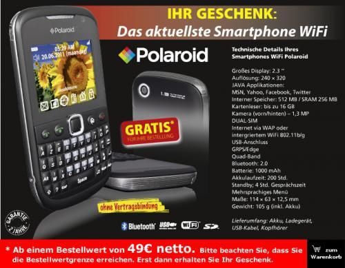 Polaroid Dual-Sim Handy als Geschenk bei JM-Bruneau ab 49 Euro netto [Gewerbe]