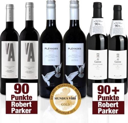 6 Flaschen prämierter Rotwein (90+ Robert Parker, Gold mundus vini) für 29,95€ auf ebay zu kaufen