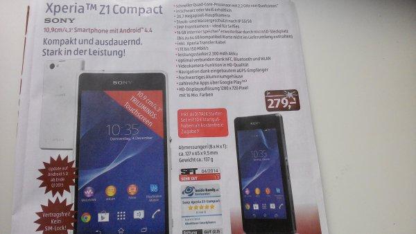 [Aldi Süd] Sony Xperia Z1 compact ab Do. 4.12 für 279€