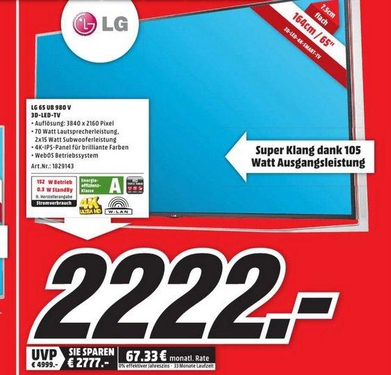 """[Lokal] LG 65"""" UHD 3D LED 65UB980v für nur 2222€ statt 2970€ - MM Neubrandenburg"""