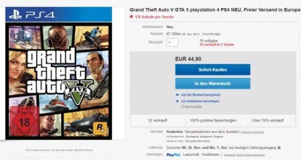 GTA 5 (PS 4) für 44,90 EUR, aus Ungarn, mit PayPal.