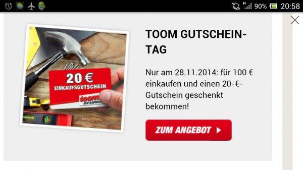Toom 20 € Gutschein für 100 € Einkauf