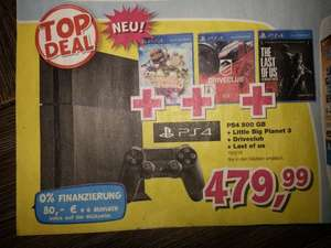 Sony PS4 500GB, Little Big Planet 3, Driveclub, Last of us (FSK18) für 479,99€ bei Toys'r'us